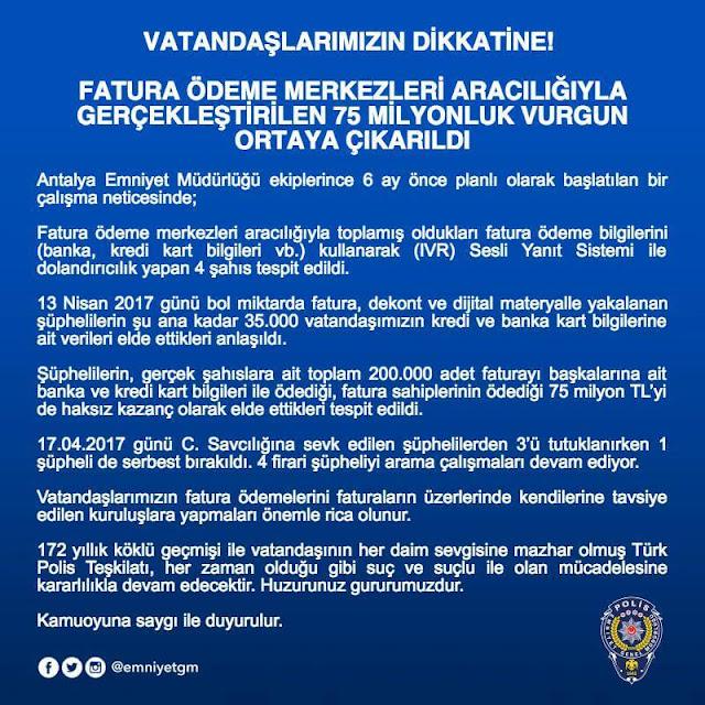 Polisten uyarı: Fatura ödeme merkezlerine dikkat