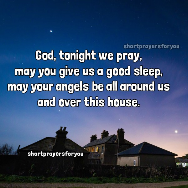 Short prayer for a good night sleep, free christian cards with image, christian prayer by Mery Bracho.
