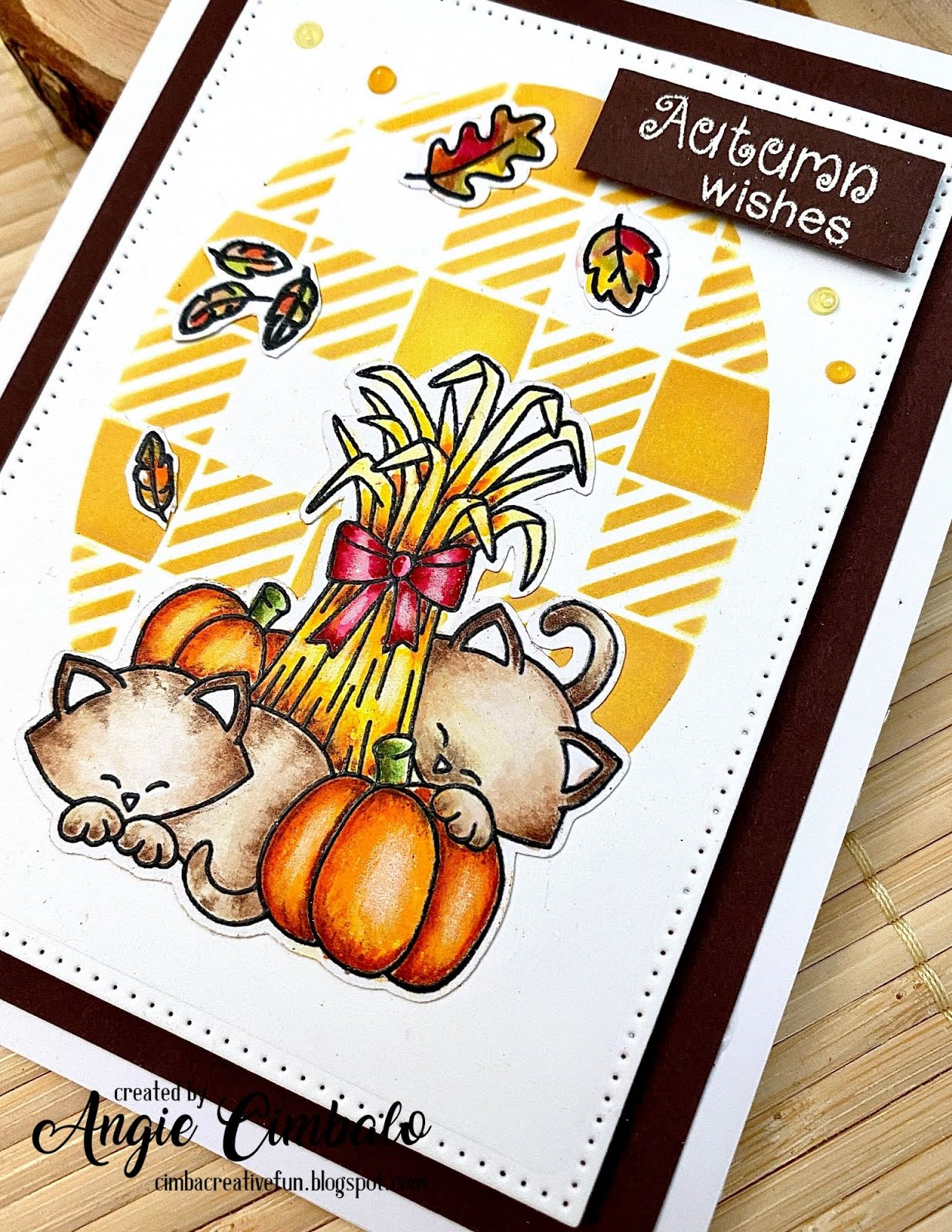 Fall Themed Cat Card by August Guest Designer Angie Cimbalo | Autumn Newton Stamp Set, Beautiful Leaves Stamp Set, Newton's Birthday Flutter Stamp Set and Gingham Stencil by Newton's Nook Designs  #newtonsnook #handmade