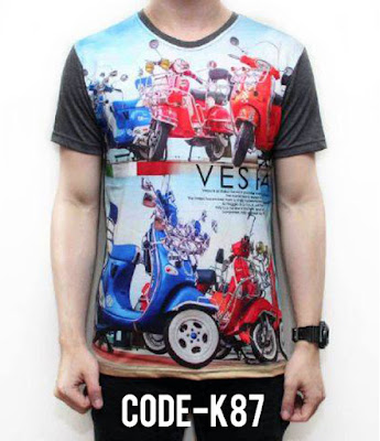 Kaos Red Blue Vespa