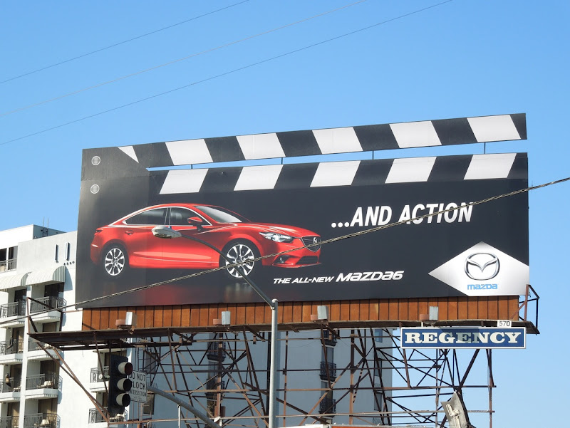 Mazda6 and action clapperboard billboard