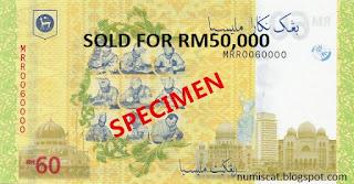 RM60 Terjual pada harga RM50,000