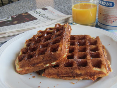 Food Lust People Love: Cheesy Ham Waffles made with smoky ham and lots of cheese in a buttermilk waffle batter.