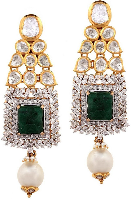 Entice Taraash- Kundan Polki Earrings Carved Emeralds Pearl Drops