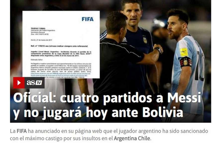 Argentino só voltará a jogar pela sua seleção em outubro de 2017 O avançado  internacional argentino Lionel Messi foi suspenso por ... cdcf4e4055d97
