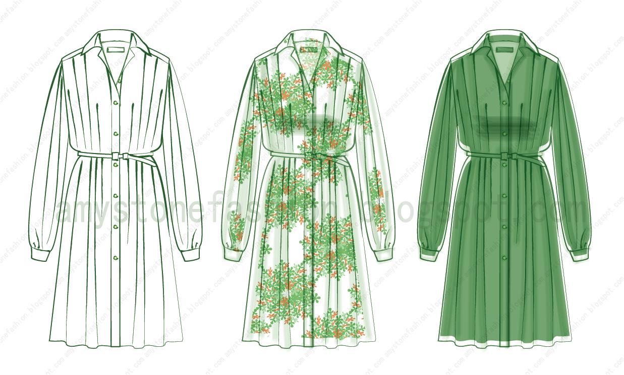 Amy Stone Fashion Flat Sketches: Button-Front Shirt Dress Fashion ...