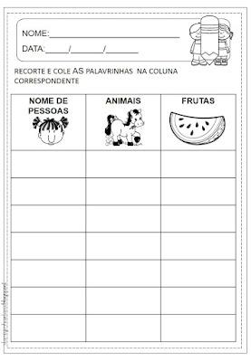 Atividades de alfabetização, Atividades com lista de palavras, Atividades para 1º ano, Atividades para 2º ano,