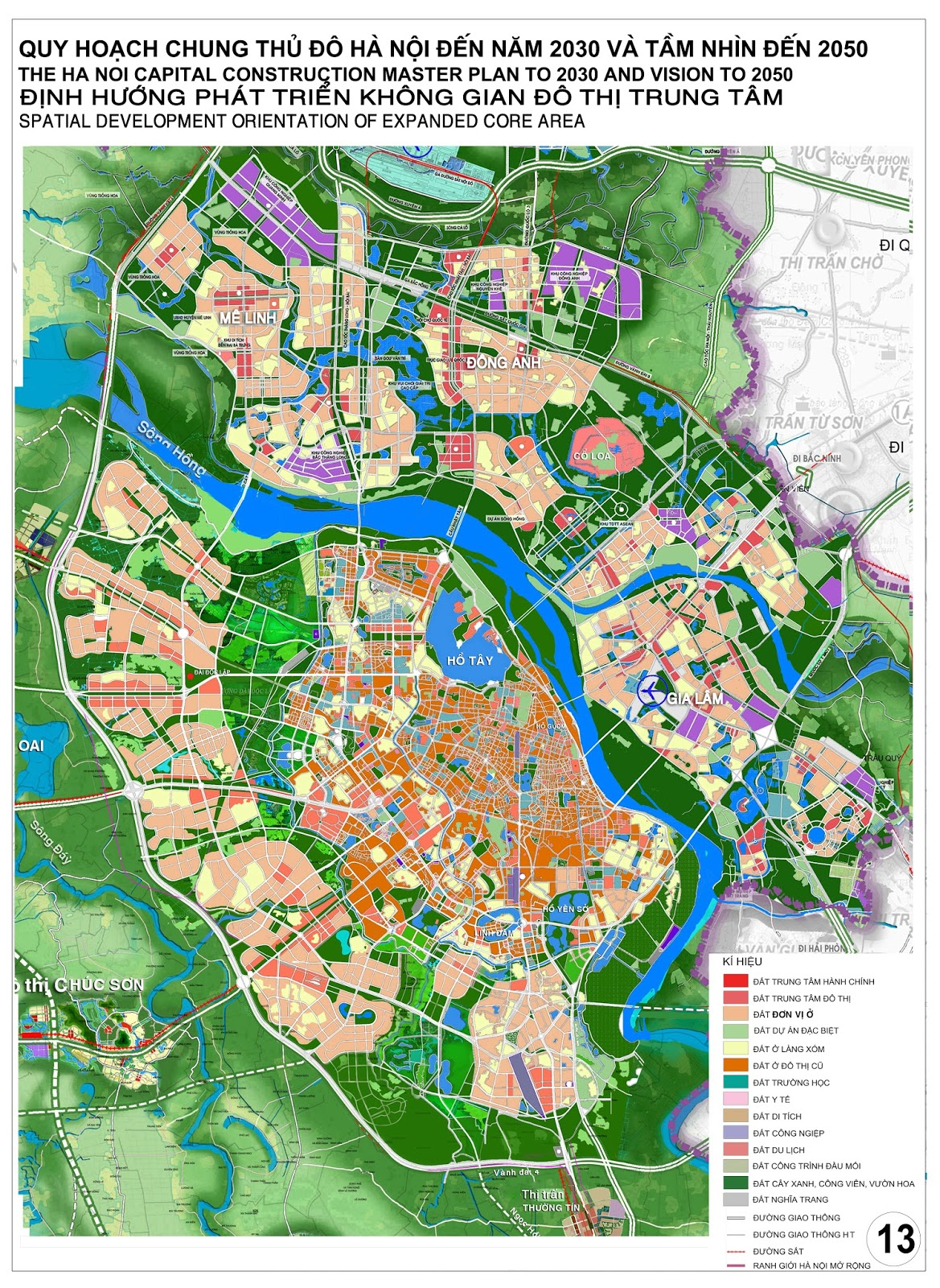 Bản đồ quy hoạch Hà Nội đến năm 2030 tầm nhìn 2050