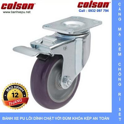 Bánh xe nhựa PU có khóa phi 125 chịu lực 122kg | S2-5256-95P-B4W www.banhxedayhang.net