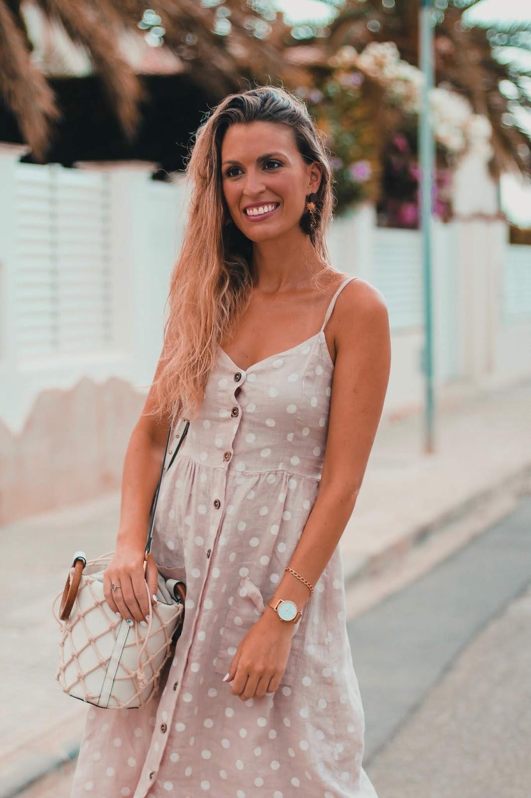 vestido lino con botones