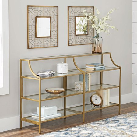 Pretty gold double metal console table