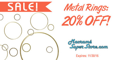 Macrame Super Store special: 20% off Metal Rings.