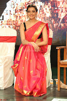 Kajal Aggarwal in Red Saree Sleeveless Black Blouse Choli at Santosham awards 2017 curtain raiser press meet 02.08.2017 087.JPG