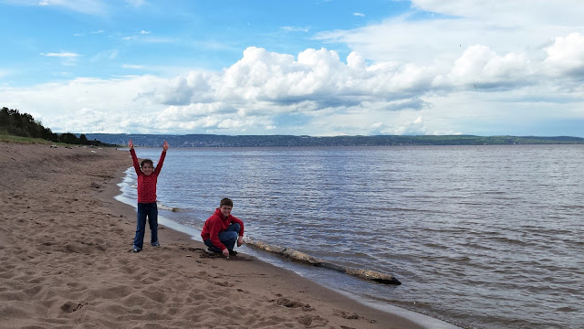 William and Adelaide on the shore of Lake Superior