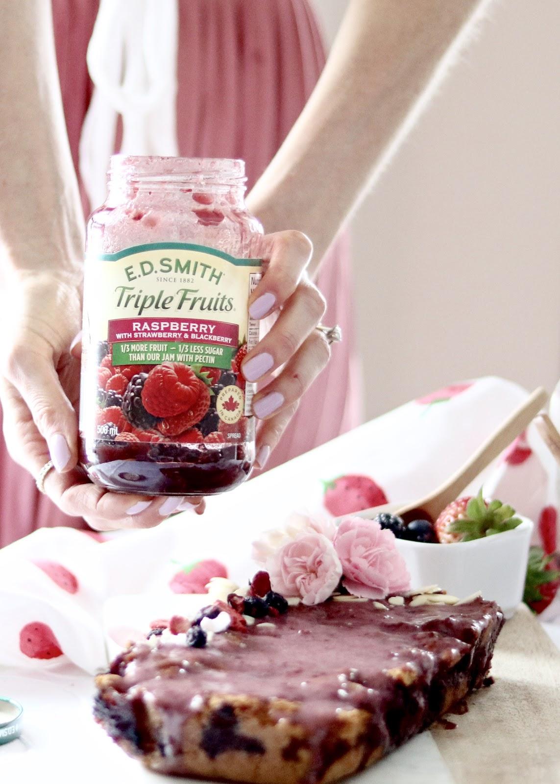 E.D. Smith Triple Berry Jam to make Spring dessert- Gluten Free Berry Loaf with Berry Glaze
