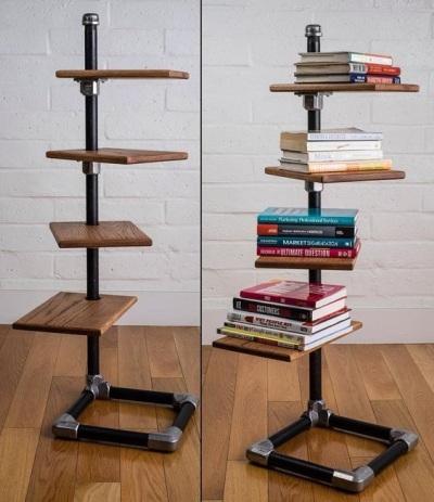 Rak buku terbuat dari pipa baja/besi