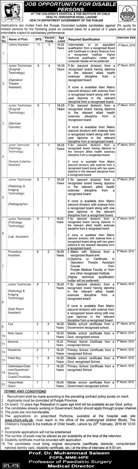 Children Hospital And Institute Of Child Health Announced Jobs in Lahore