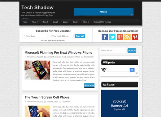 tech shadow seo ready technology blogger template 2014 for blogger or blogspot 2014 2015