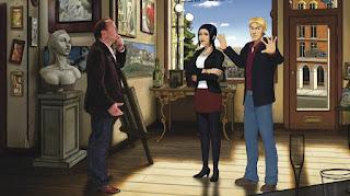 Charles Cecil junto a los protagonistas de Broken Sword