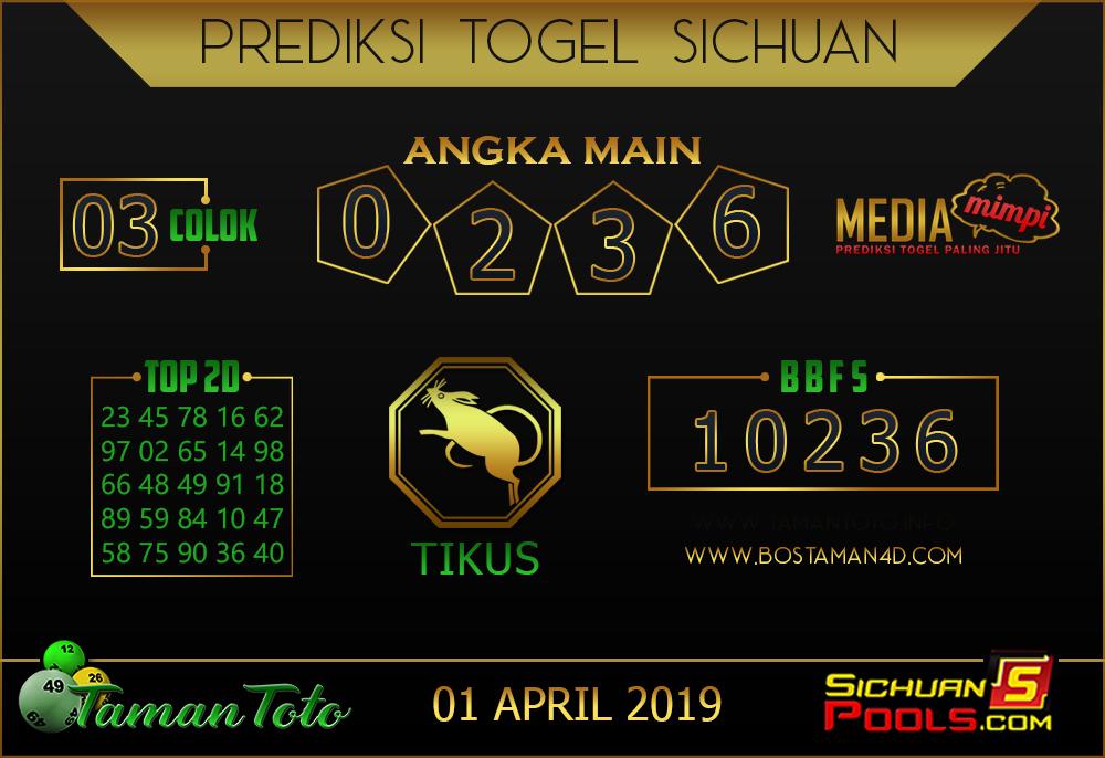 Prediksi Togel SICHUAN TAMAN TOTO 01 APRIL 2019