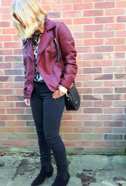 burgundy moto and leopard outfit