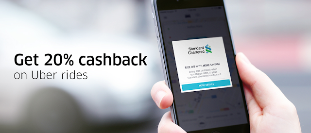 Standard Chartered credit card 20% cashback offer on uber ride for 12 months