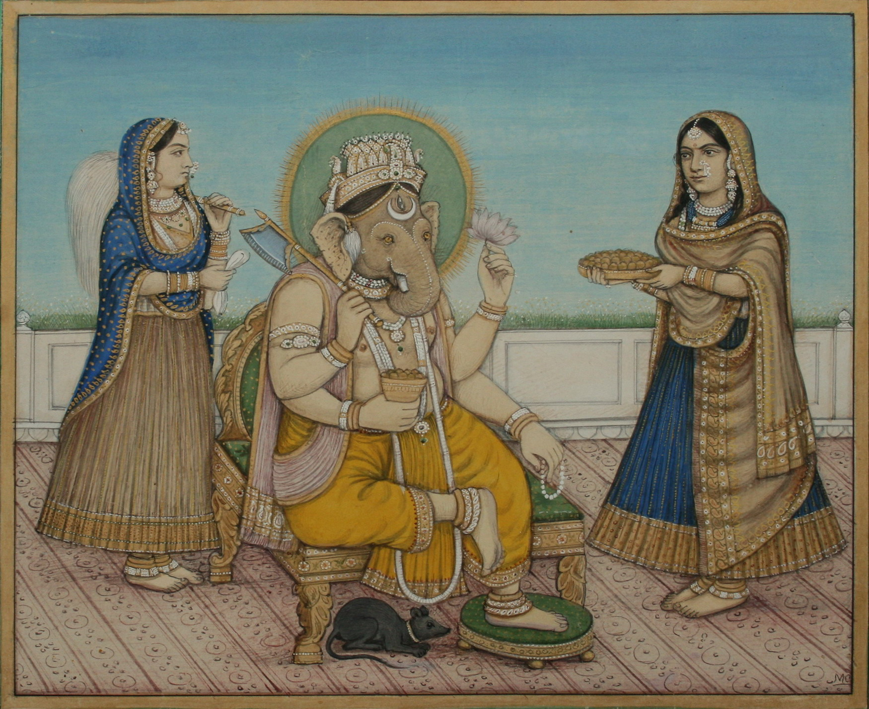 Ganesha attended by wives Riddhi and Siddhi - Delhi c1880's