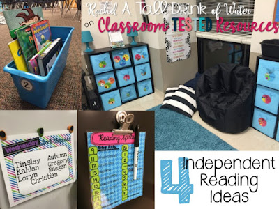 4 Independent Reading Ideas to use in your classroom today! www.rachelatalldrinkofwater.com