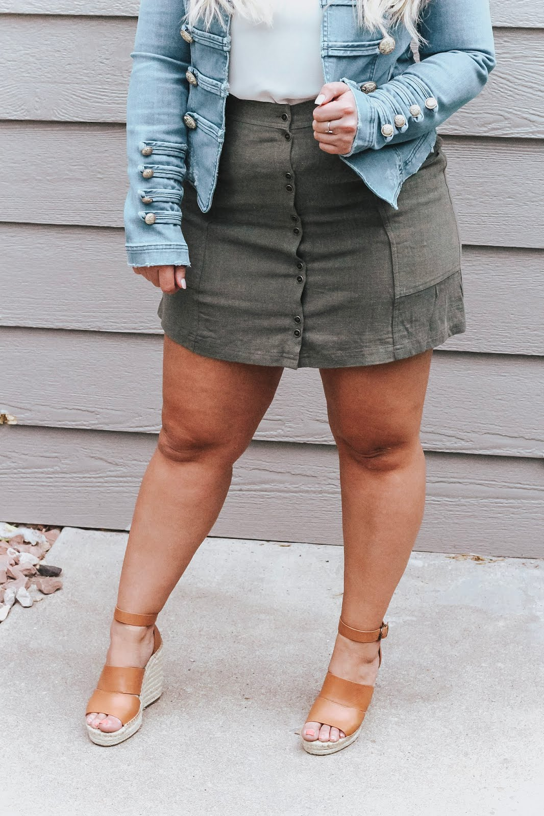 Free People Military Denim Jacket  styled by popular Colorado fashion blogger, Delayna Denaye