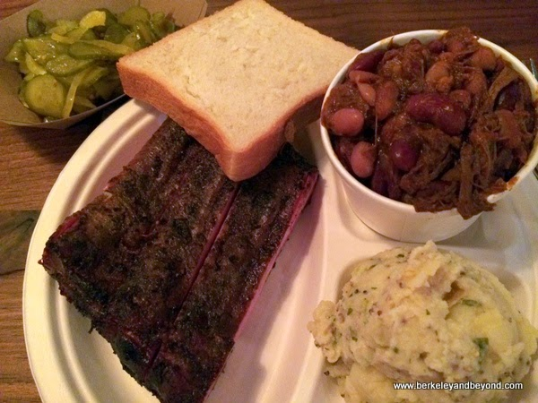 ribs plate at Perdition Smokehouse in Berkeley, California