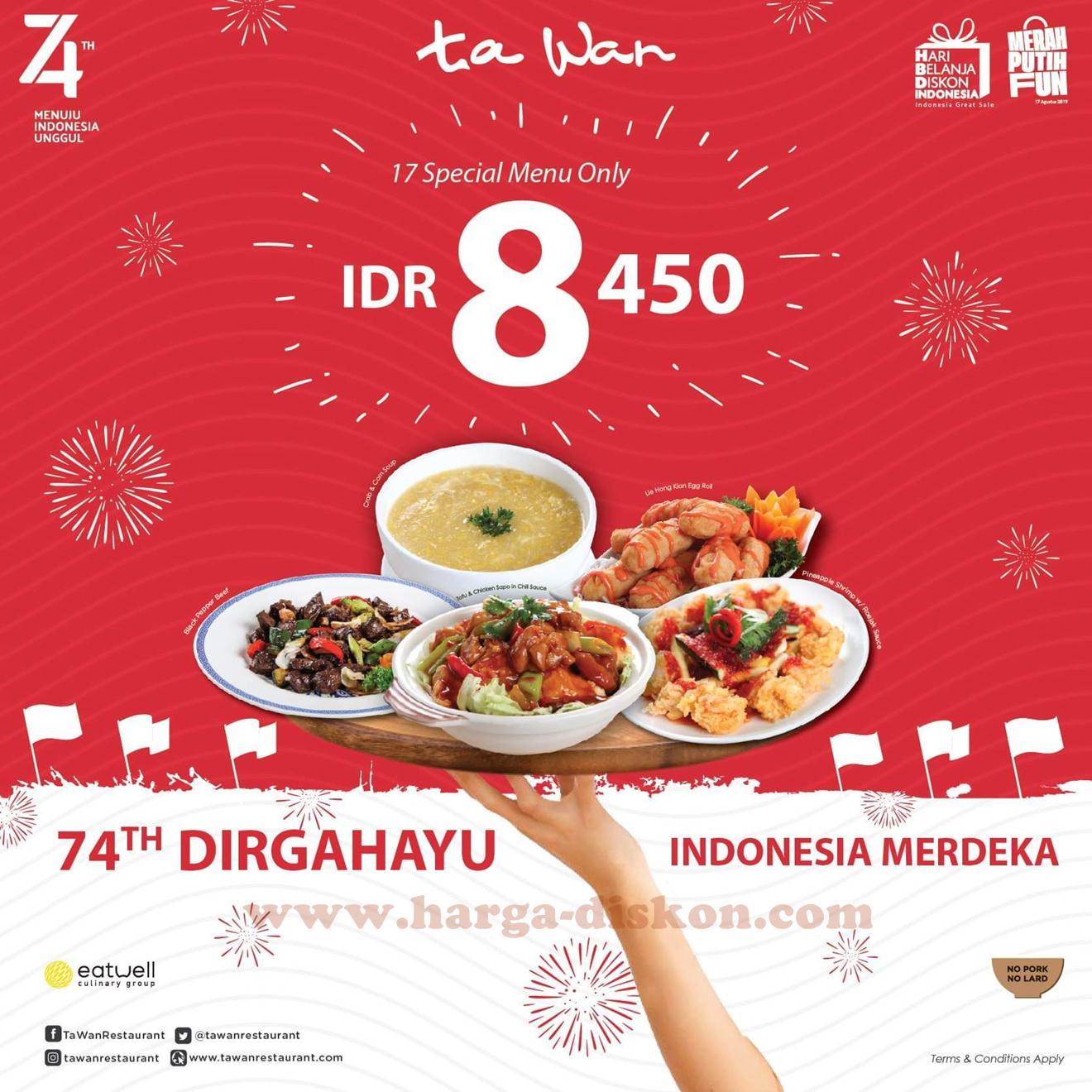 Promo Ta Wan Restaurant Terbaru Spesial Kemerdekaan 17 Menu Harga Rp8 450 Harga Diskon