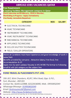 Gulf jobs walkins Country QATAR Free Requirement for A leading Facilities Management company in Qatar text image