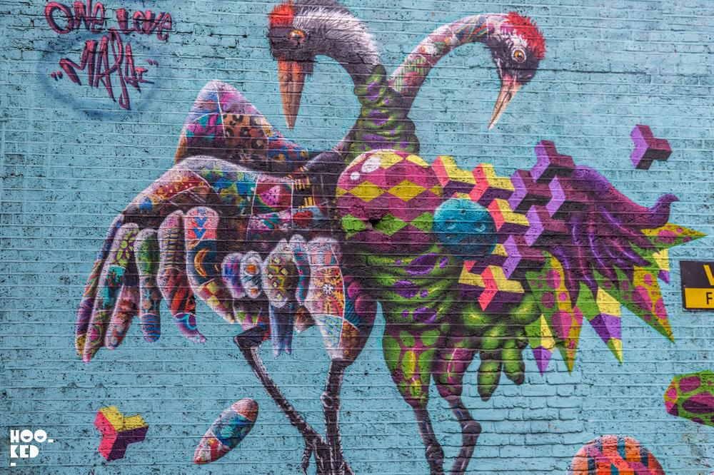 Canadian Street Artist BirdO's collab with UK Street Artist Louis Massai