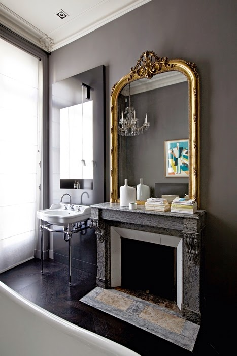 Bathroom design with fireplace