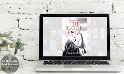 Image of THE BLOOD RACE by K.A. Emmons on a laptop screen.