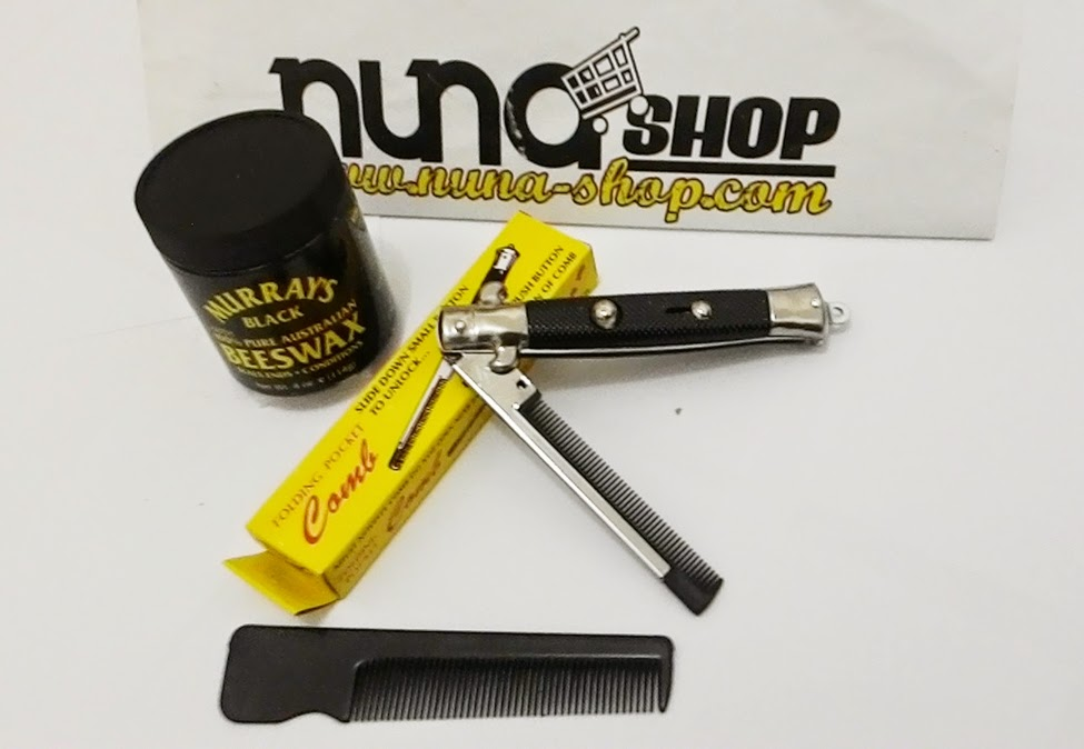Paket Hemat Pomade Murray's Black Beeswax + Switchblade Comb