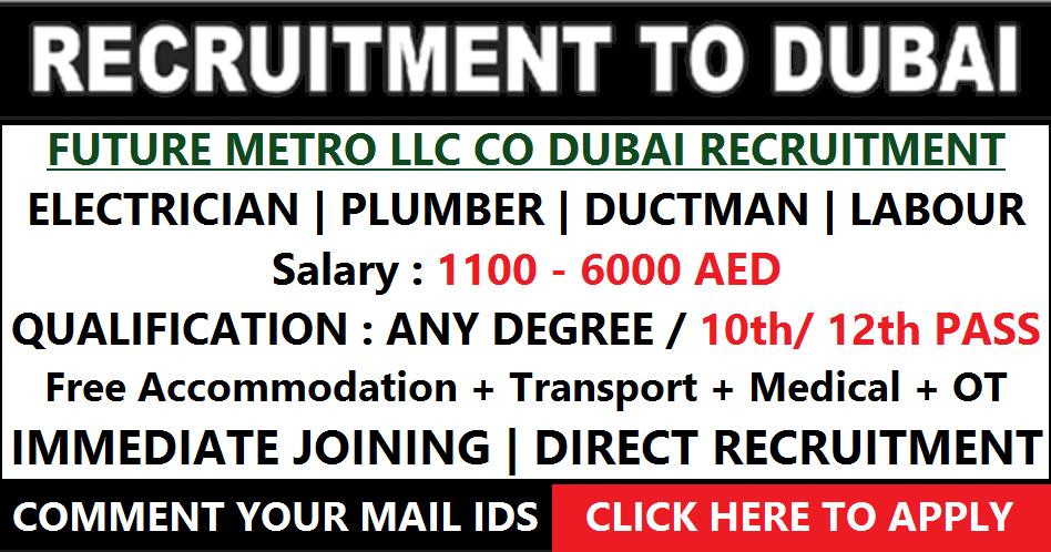 Recruitment To Dubai: Future Metro LLC | All Gulf Vacancy