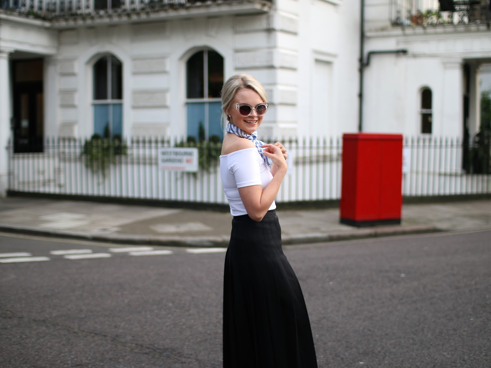 high waist vintage skirt, off the shoulder top and cat eye sunglasses