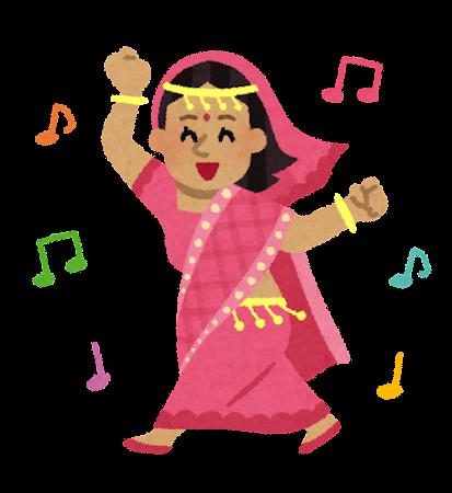 踊るインド人女性のイラスト