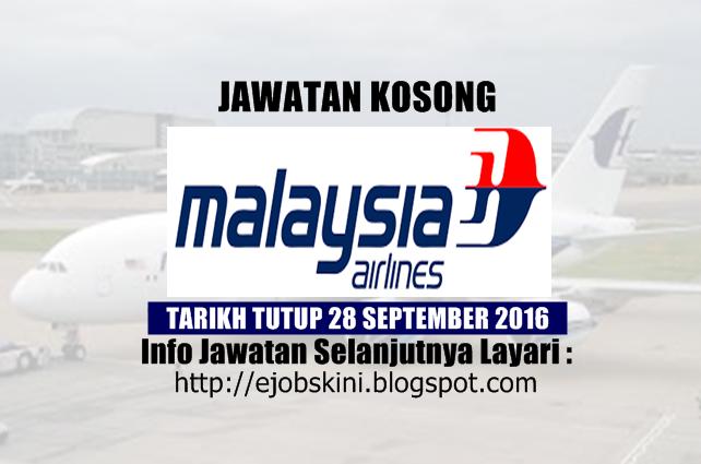 jawatan kosong di malaysia airliness berhad september 2016
