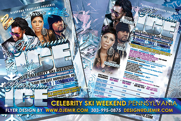 Platinum Ice 2013 Celebrity Black Ski Weekend Flyer design