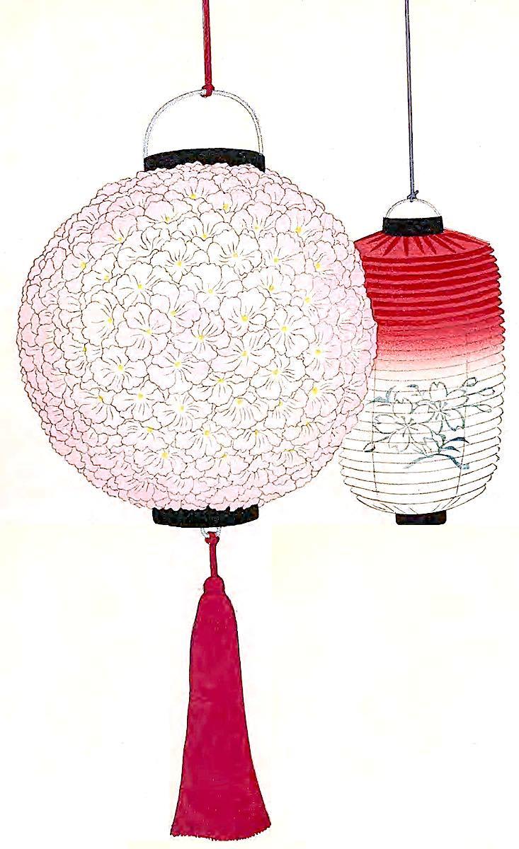 red Japan lanterns 1900, a color illustration