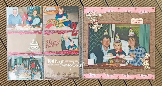 Stampin' Up! Birthday Delivery Bundle, Birthday Delivery, Birthday Memories DSP, Birthday Friends Framelits Dies, Birthday Scrapbooking Page designed by Kathryn Mangelsdorf