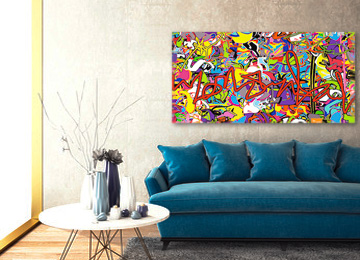 abstract art, abstract graffiti wall art, graffiti art, street art, multi coloured abstract art, large art, panoramic wall art, Sam Freek, buy art, gallery art,