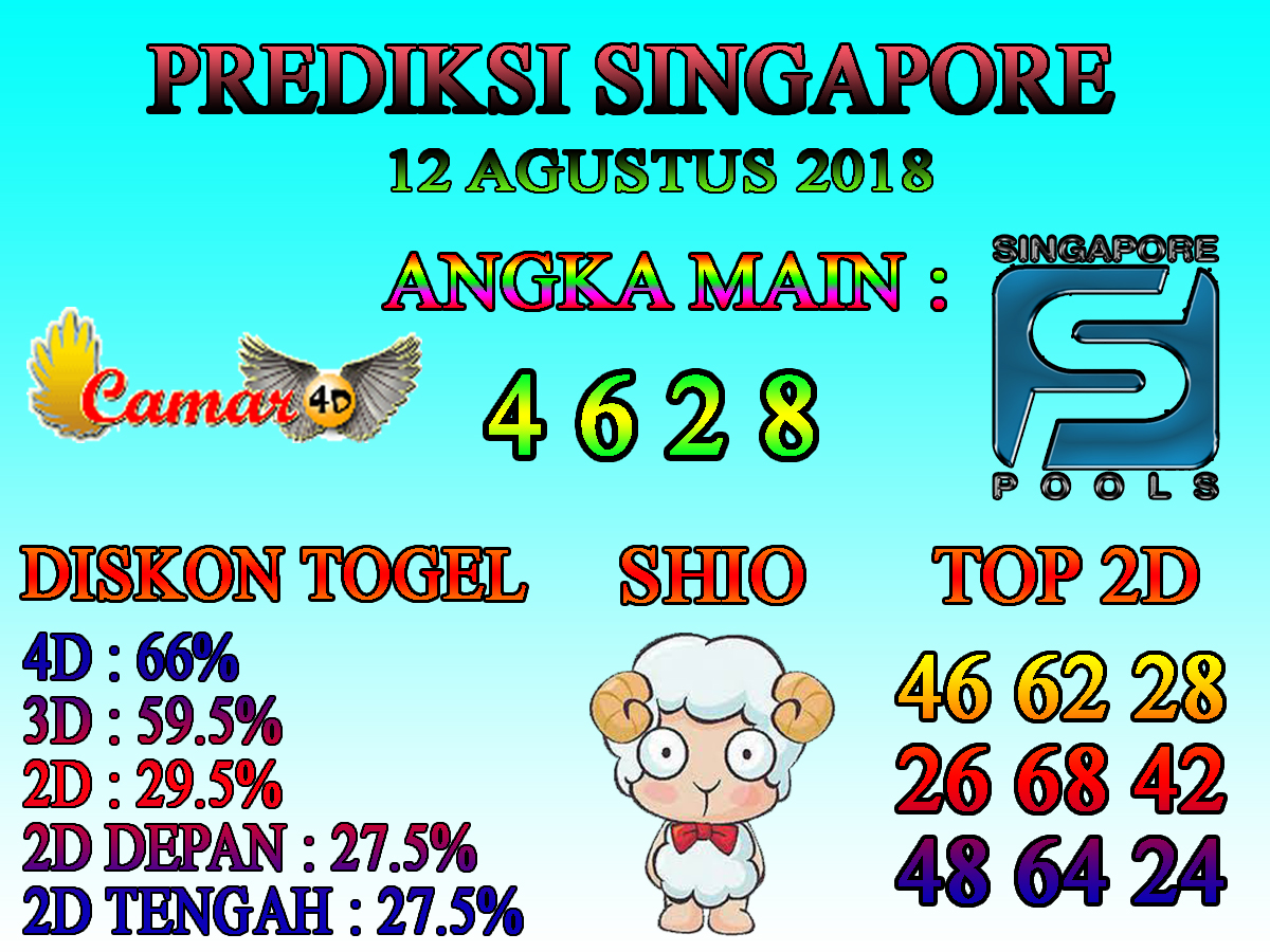 PREDIKSI SINGAPORE 11 Agustus 2018 2D DEPAN Prediksi AS