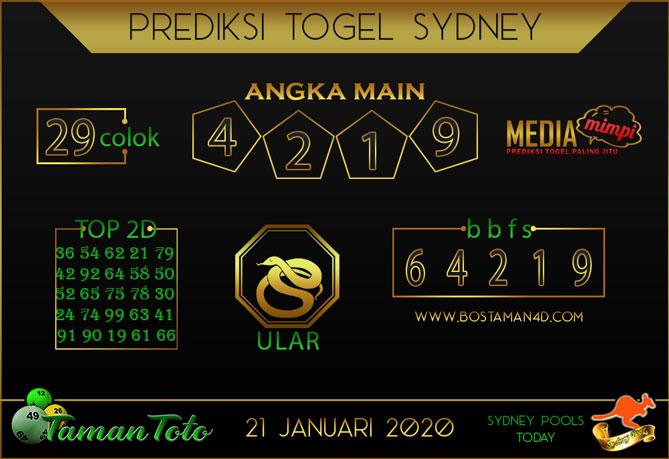 Prediksi Togel SYDNEY TAMAN TOTO 21 JANUARI 2020