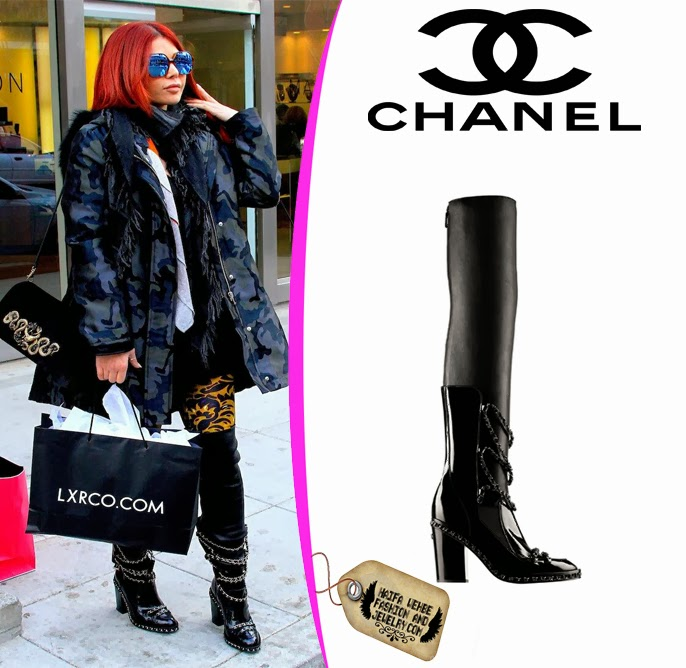 3ba48b4f8c87fc Haifa Wehbe wearing Black leather and chain thigh-high boots with integrated  gaiters Chanel