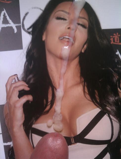 Kim kardashian look alike takes cum on her face