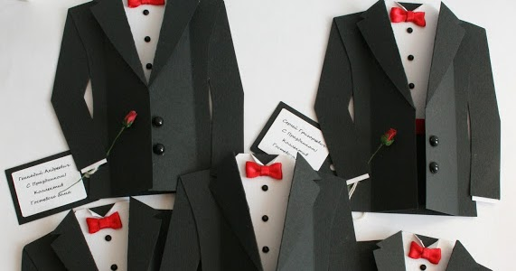 diy tuxedo cards or invitations with template