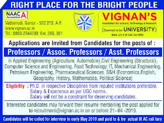 Vignan's University, Guntur, Assistant Professor Jobs Recruitment 2019 Application Form